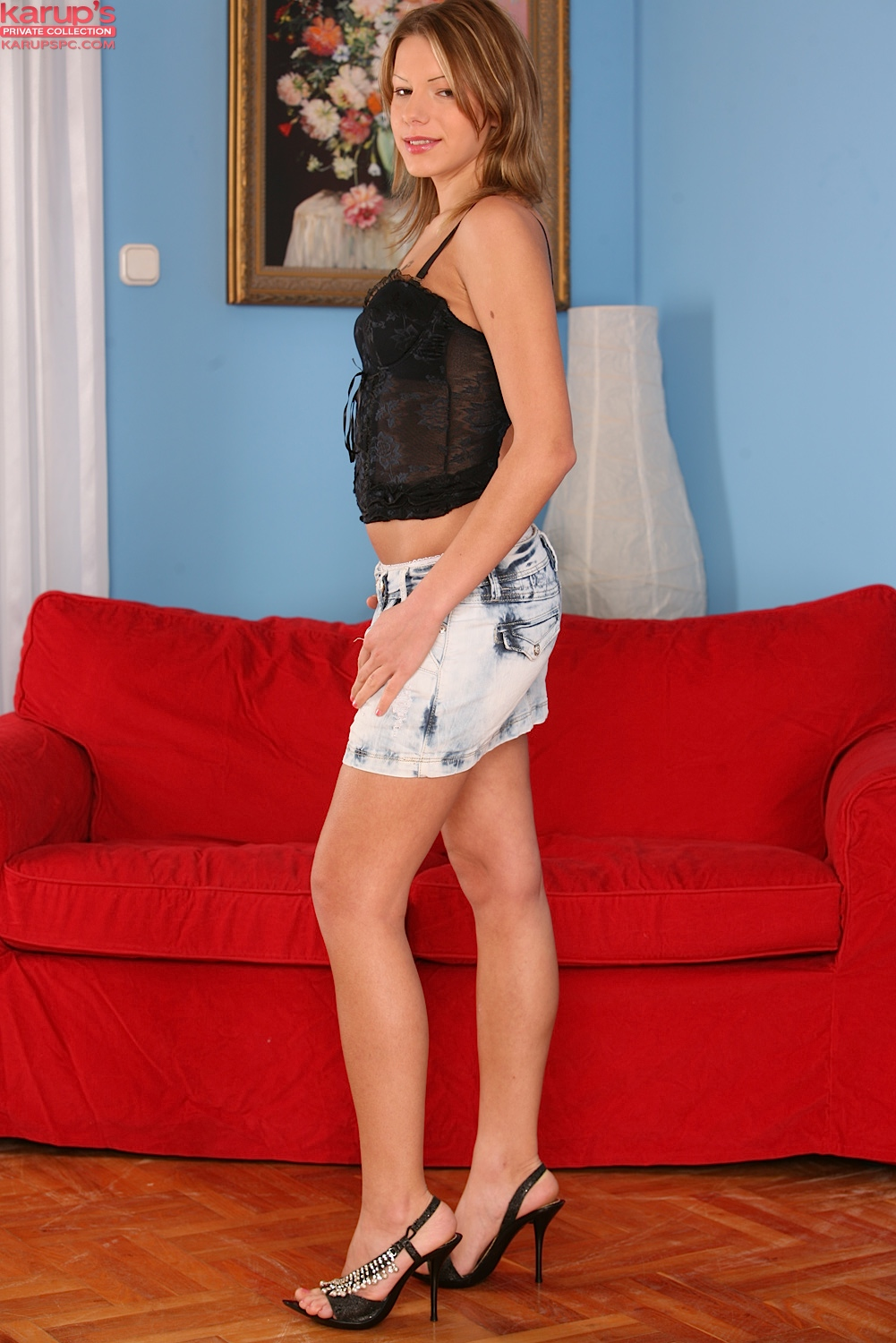 Teen amateur Lexi Summers slips off miniskirt and lace panties on leather sofa № 908959  скачать
