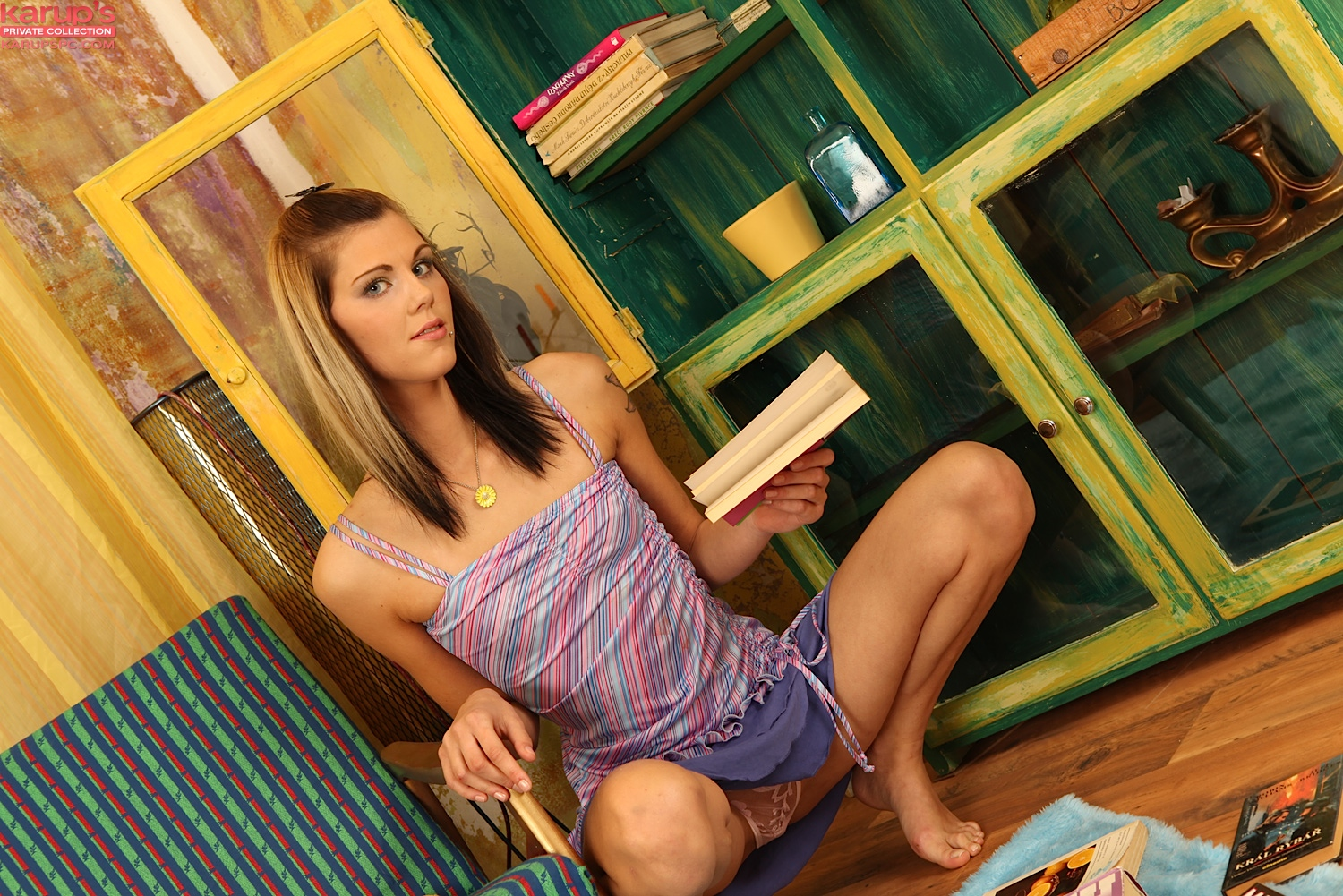 First time amateur Anne Marie fingers her shaved teen cooter  1039670